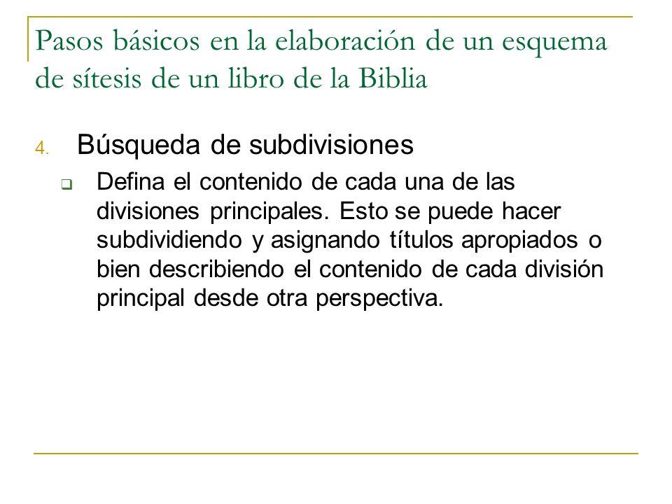 Pasos básicos en la elaboración de un esquema de sítesis de un libro de la Biblia