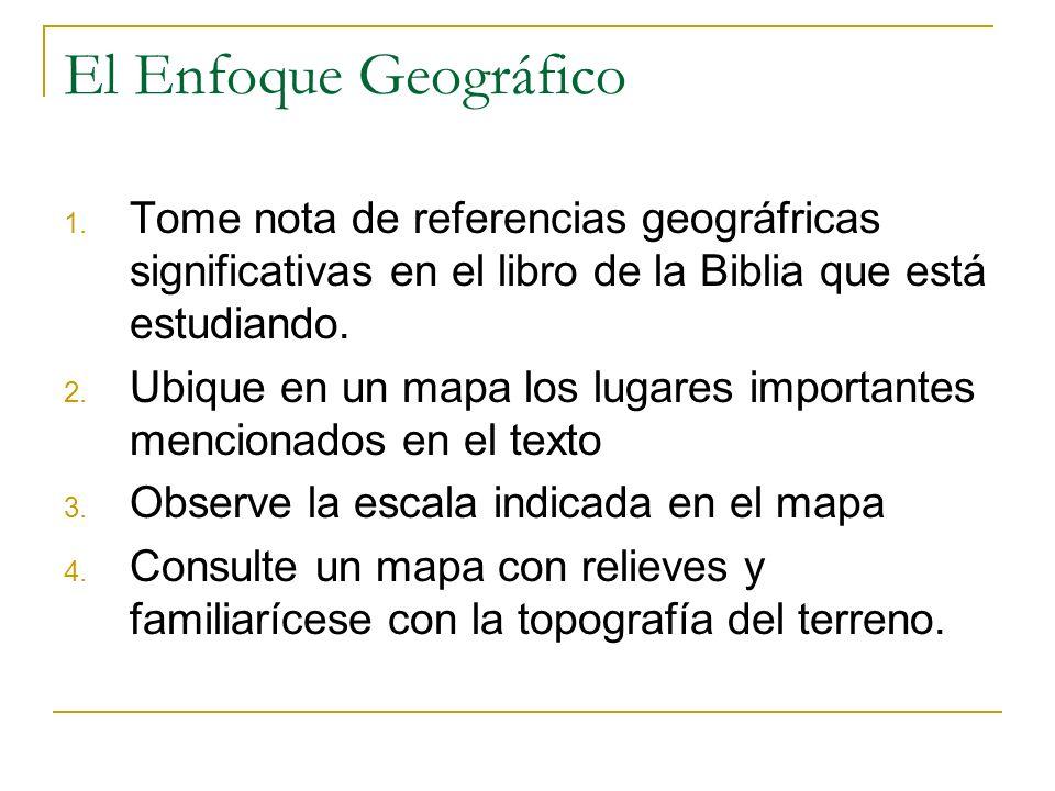 El Enfoque Geográfico Tome nota de referencias geográfricas significativas en el libro de la Biblia que está estudiando.