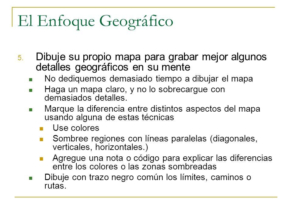 El Enfoque Geográfico Dibuje su propio mapa para grabar mejor algunos detalles geográficos en su mente.