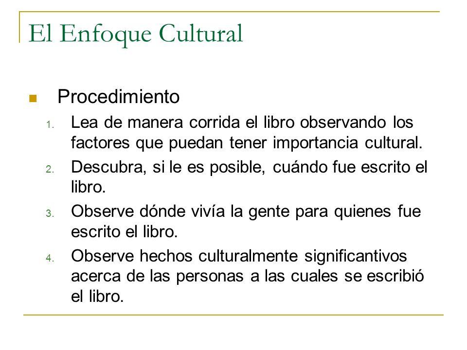 El Enfoque Cultural Procedimiento