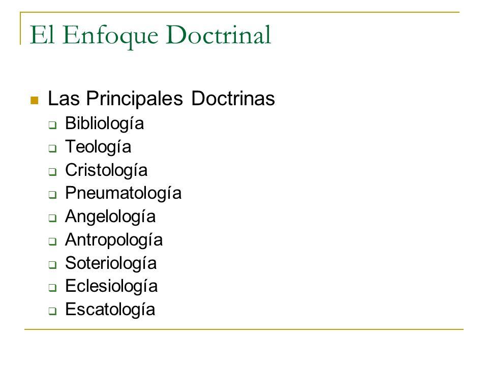 El Enfoque Doctrinal Las Principales Doctrinas Bibliología Teología