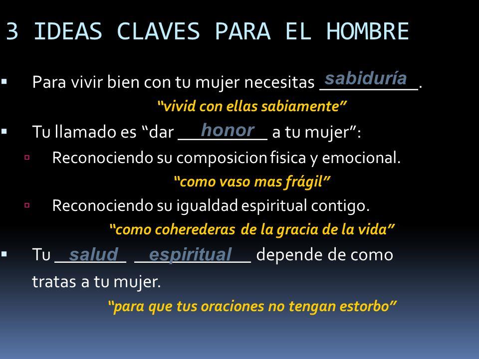 3 IDEAS CLAVES PARA EL HOMBRE