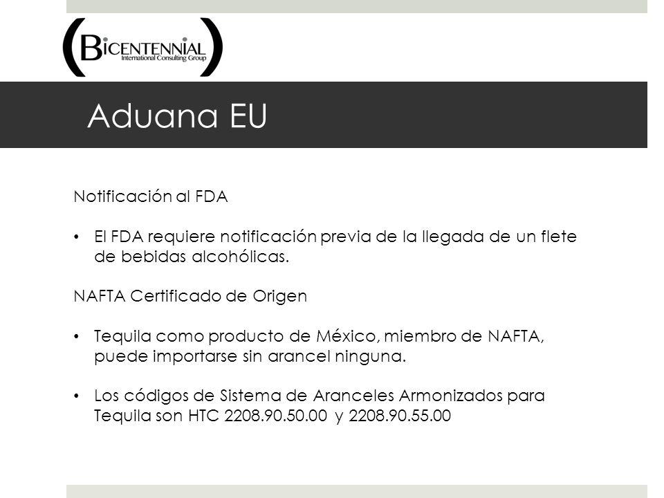Aduana EU Notificación al FDA