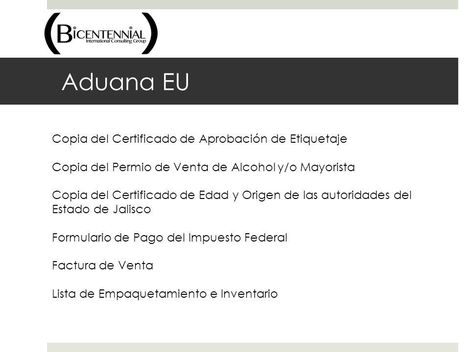 Aduana EU Copia del Certificado de Aprobación de Etiquetaje