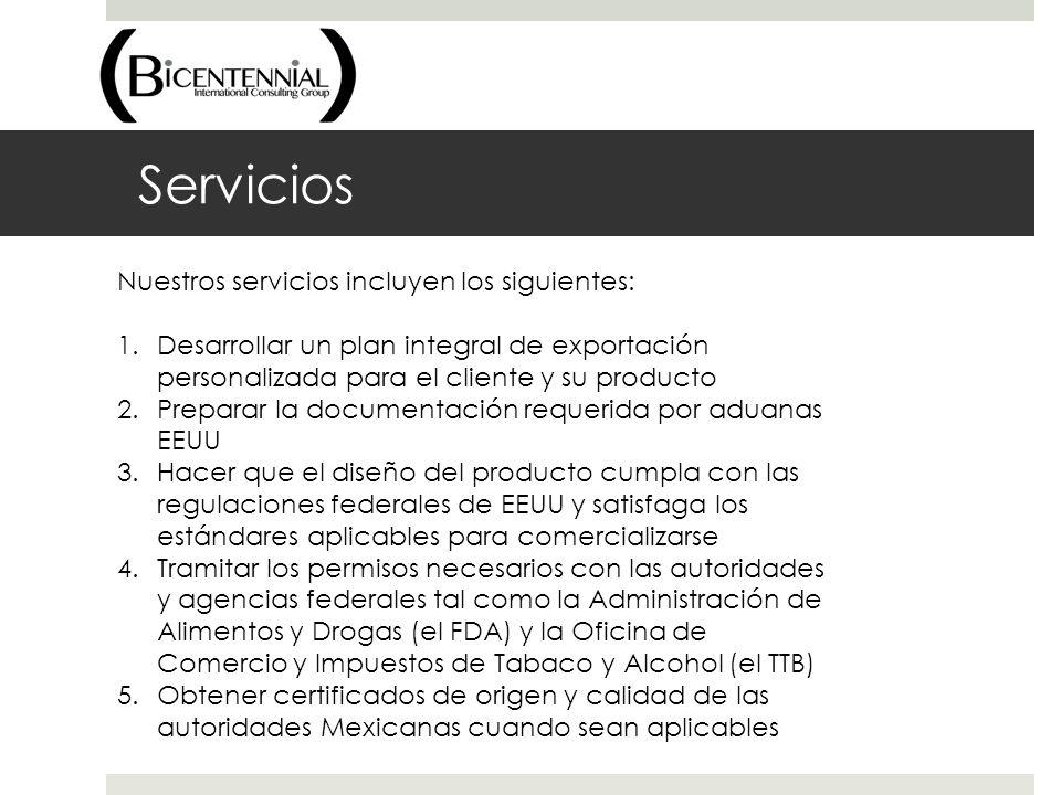 Servicios Nuestros servicios incluyen los siguientes: