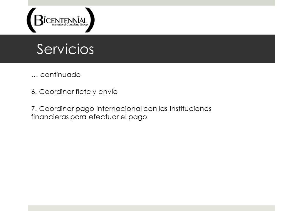 Servicios … continuado 6. Coordinar flete y envío