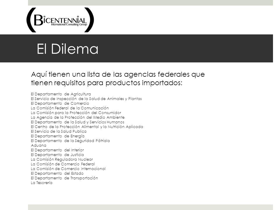 El Dilema Aquí tienen una lista de las agencias federales que tienen requisitos para productos importados: