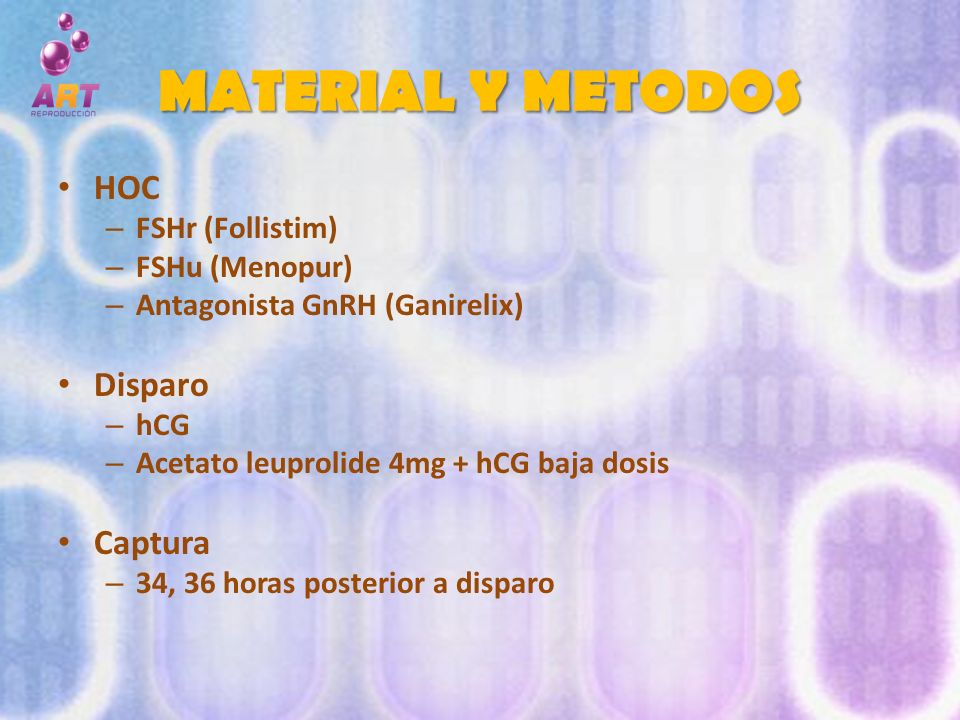 MATERIAL Y METODOS HOC Disparo Captura FSHr (Follistim) FSHu (Menopur)