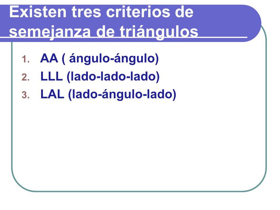 Existen tres criterios de semejanza de triángulos
