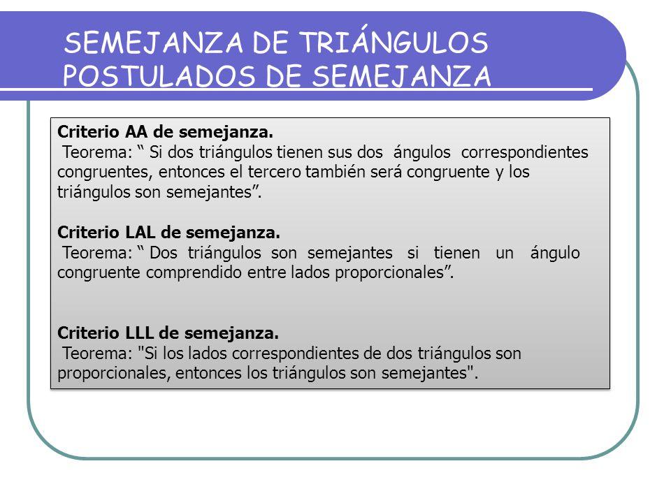 SEMEJANZA DE TRIÁNGULOS POSTULADOS DE SEMEJANZA