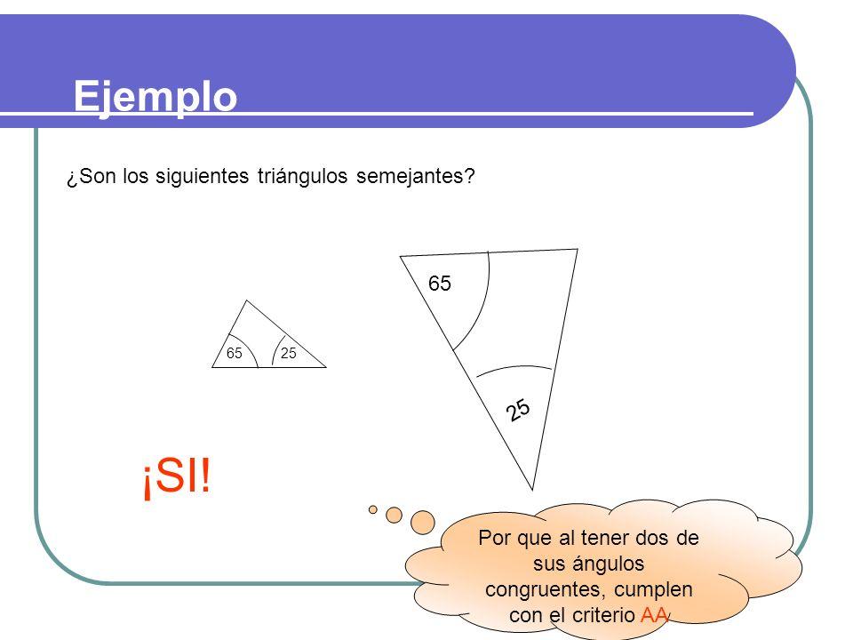 ¡SI! Ejemplo ¿Son los siguientes triángulos semejantes 25