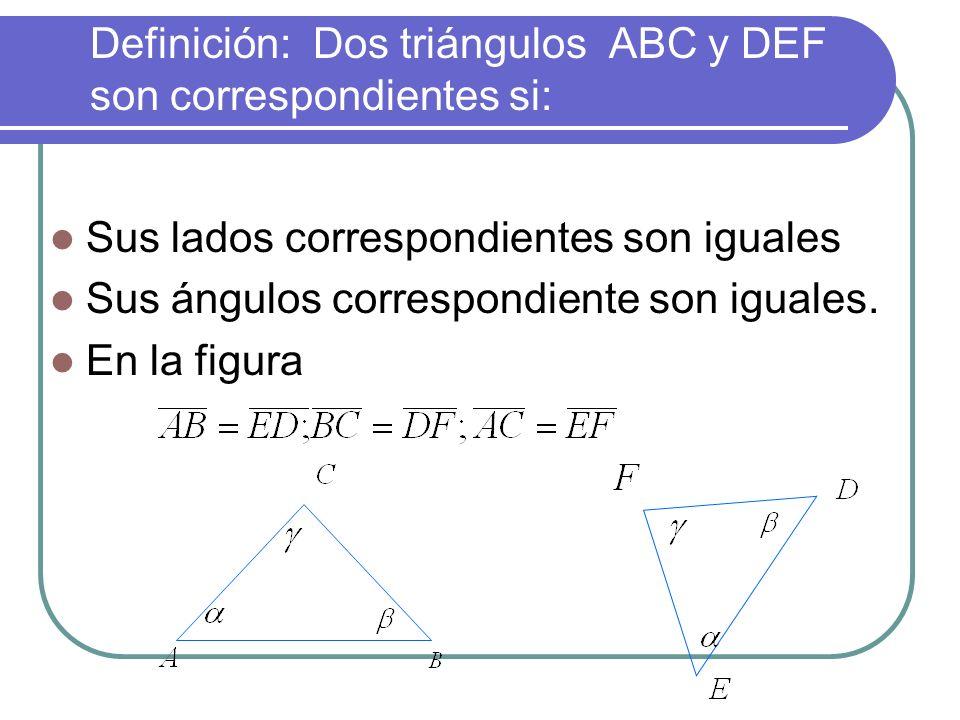Definición: Dos triángulos ABC y DEF son correspondientes si: