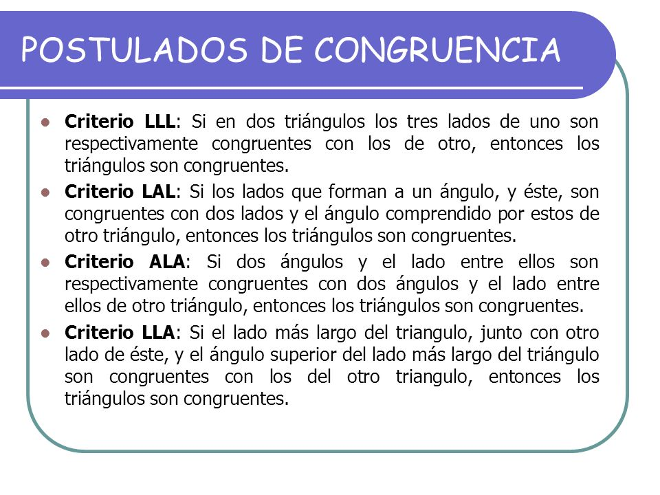 POSTULADOS DE CONGRUENCIA