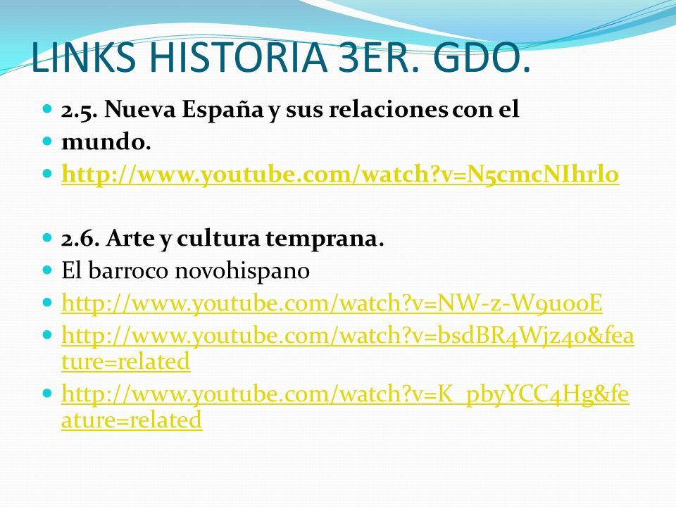 LINKS HISTORIA 3ER. GDO. 2.5. Nueva España y sus relaciones con el