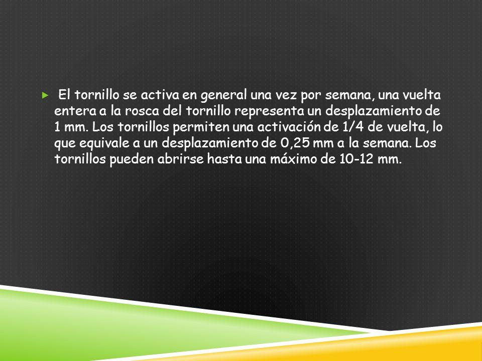 El tornillo se activa en general una vez por semana, una vuelta entera a la rosca del tornillo representa un desplazamiento de 1 mm.