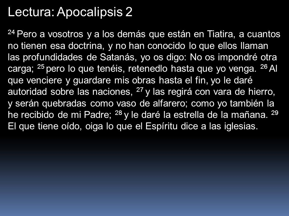 Lectura: Apocalipsis 2