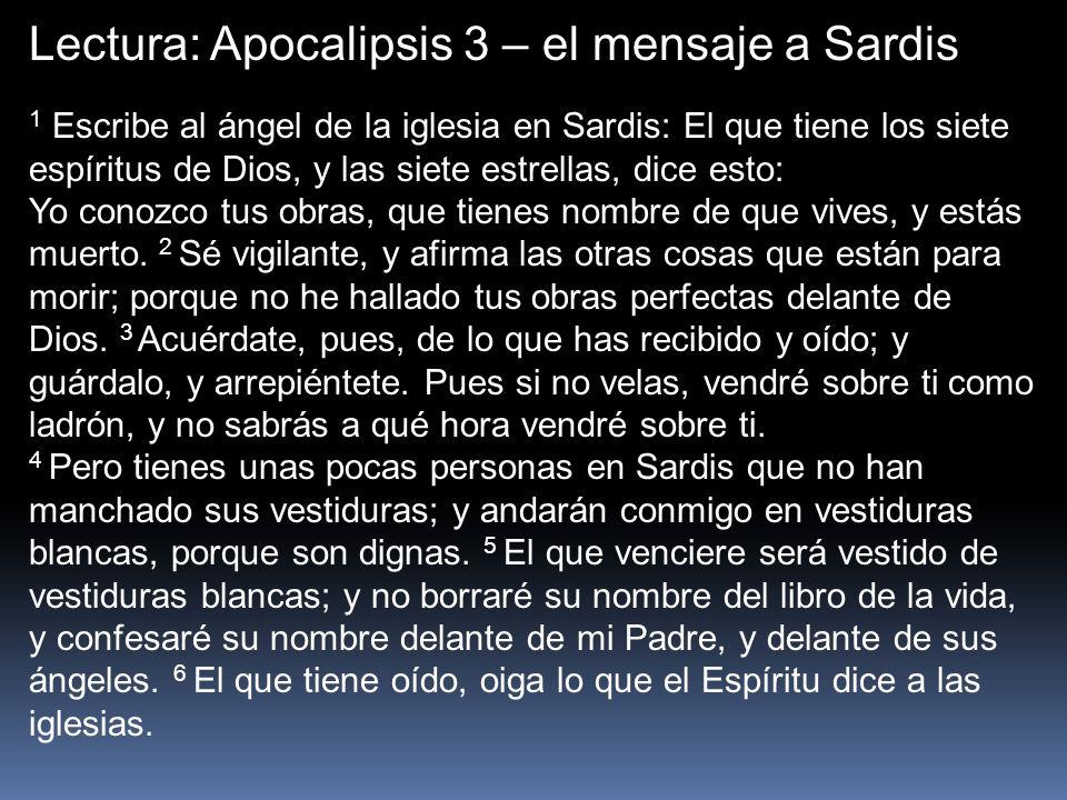 Lectura: Apocalipsis 3 – el mensaje a Sardis
