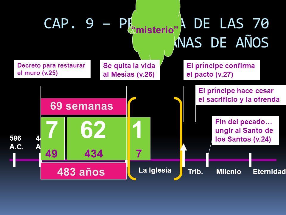 7 62 1 CAP. 9 – PROFECIA DE LAS 70 SEMANAS DE AÑOS 69 semanas 49 434 7