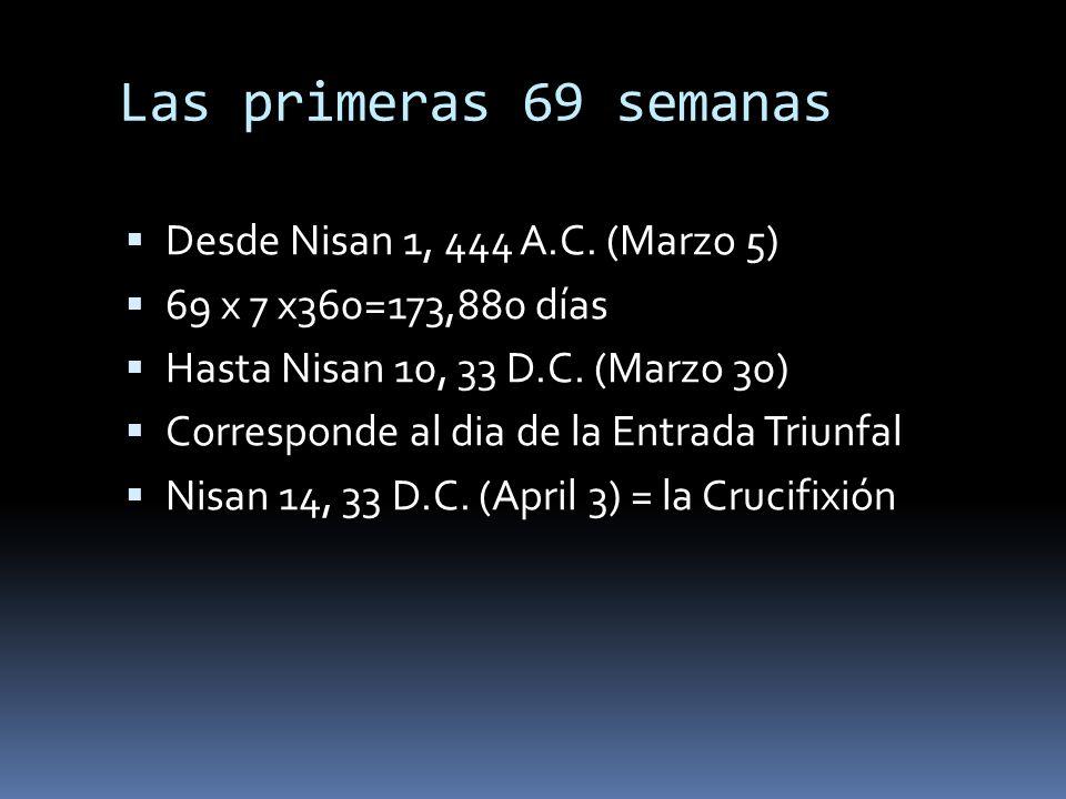 Las primeras 69 semanas Desde Nisan 1, 444 A.C. (Marzo 5)