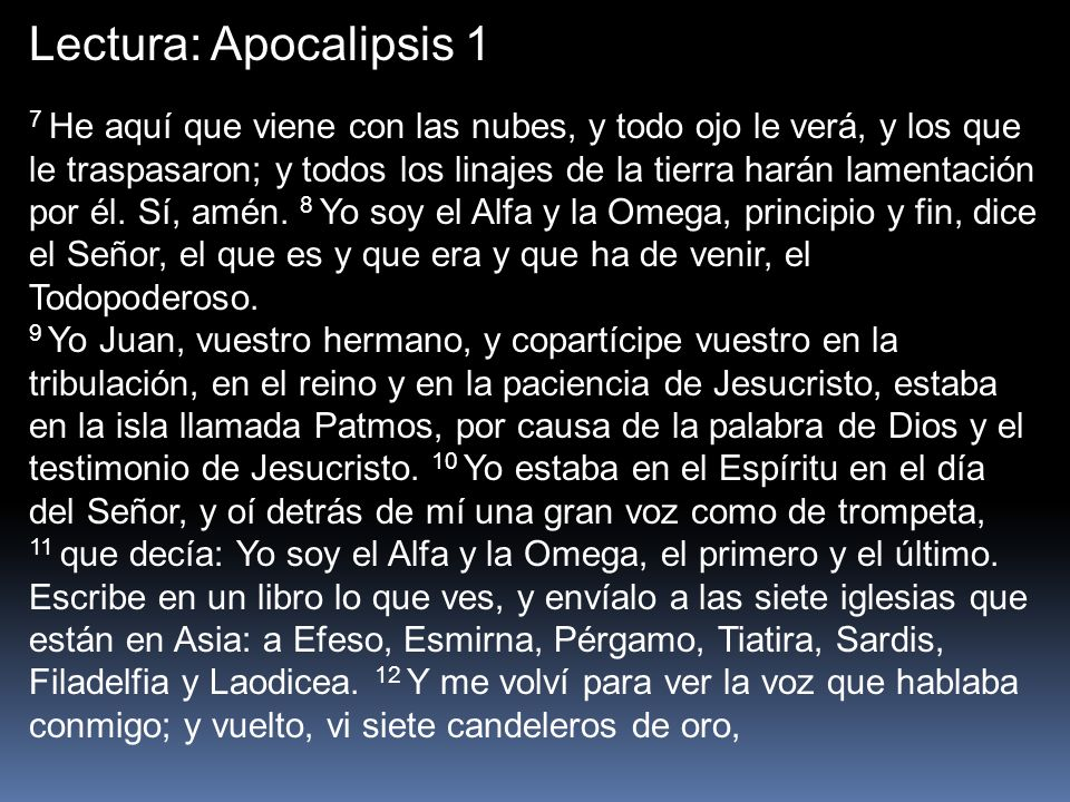 Lectura: Apocalipsis 1