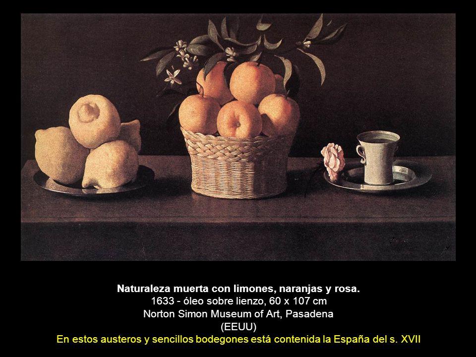 Naturaleza muerta con limones, naranjas y rosa