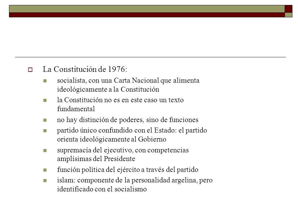 La Constitución de 1976:socialista, con una Carta Nacional que alimenta ideológicamente a la Constitución.
