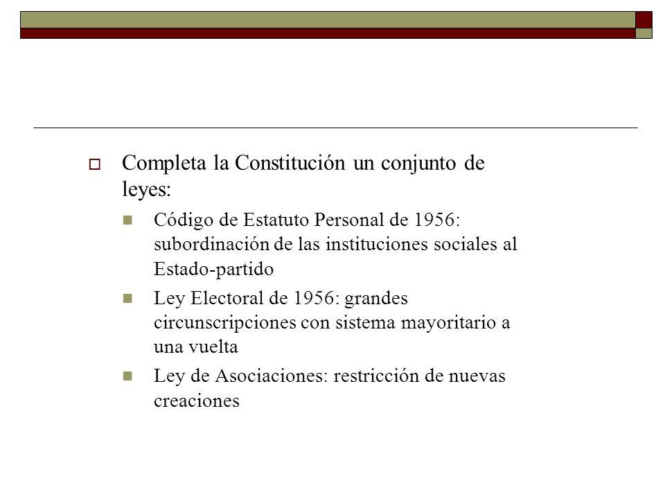 Completa la Constitución un conjunto de leyes: