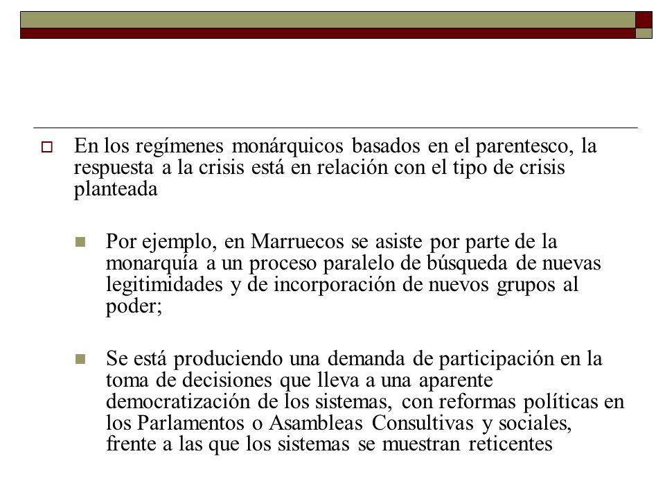 En los regímenes monárquicos basados en el parentesco, la respuesta a la crisis está en relación con el tipo de crisis planteada