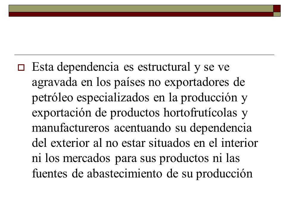 Esta dependencia es estructural y se ve agravada en los países no exportadores de petróleo especializados en la producción y exportación de productos hortofrutícolas y manufactureros acentuando su dependencia del exterior al no estar situados en el interior ni los mercados para sus productos ni las fuentes de abastecimiento de su producción
