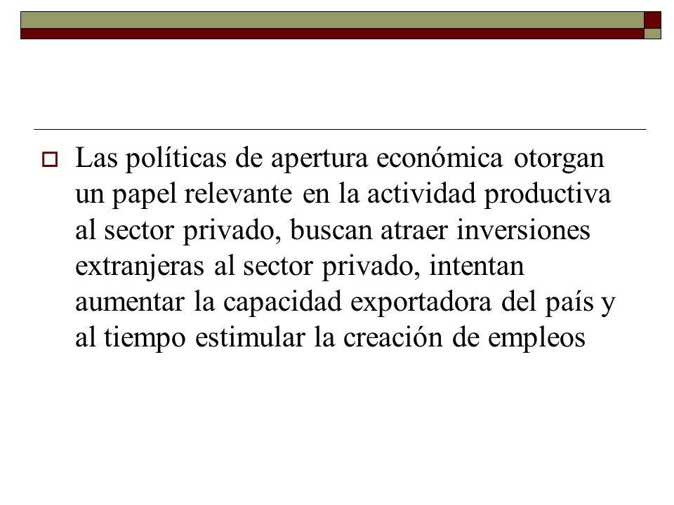 Las políticas de apertura económica otorgan un papel relevante en la actividad productiva al sector privado, buscan atraer inversiones extranjeras al sector privado, intentan aumentar la capacidad exportadora del país y al tiempo estimular la creación de empleos