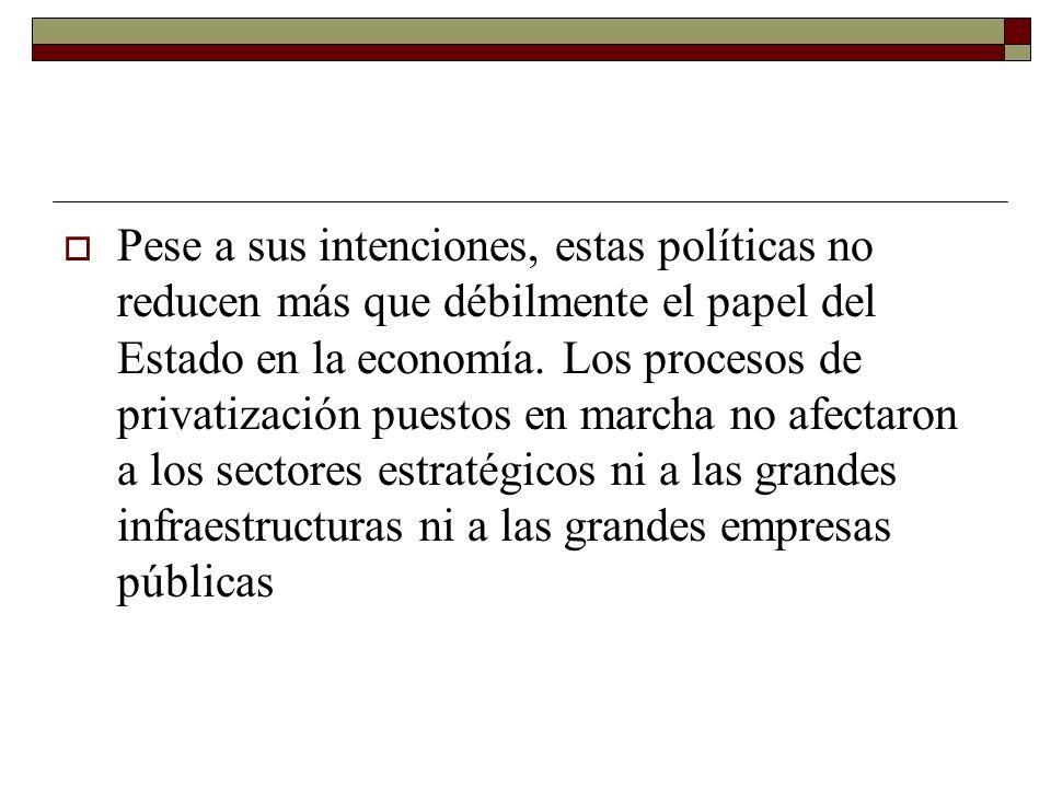 Pese a sus intenciones, estas políticas no reducen más que débilmente el papel del Estado en la economía.