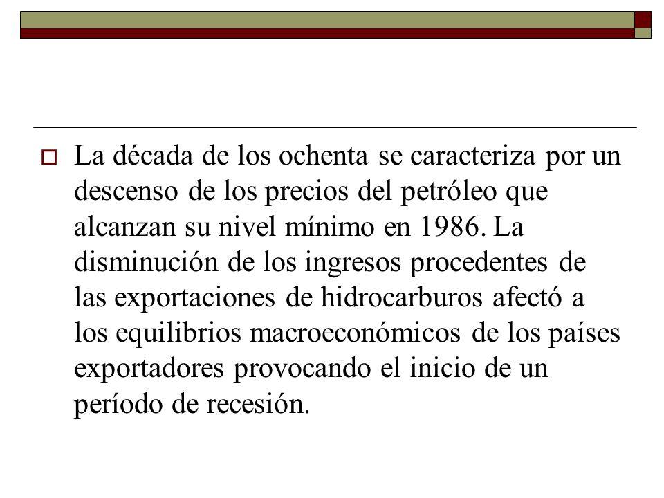 La década de los ochenta se caracteriza por un descenso de los precios del petróleo que alcanzan su nivel mínimo en 1986.