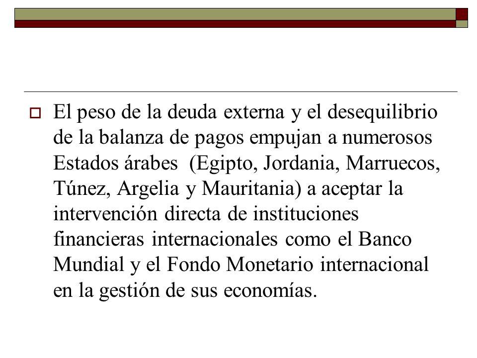 El peso de la deuda externa y el desequilibrio de la balanza de pagos empujan a numerosos Estados árabes (Egipto, Jordania, Marruecos, Túnez, Argelia y Mauritania) a aceptar la intervención directa de instituciones financieras internacionales como el Banco Mundial y el Fondo Monetario internacional en la gestión de sus economías.