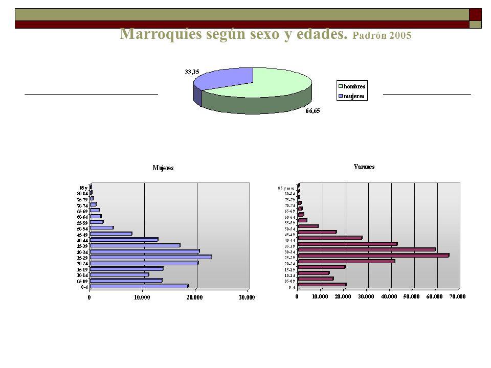 Marroquíes según sexo y edades. Padrón 2005