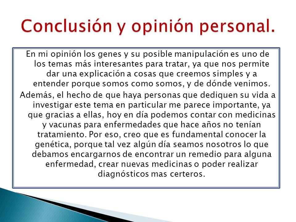 Conclusión y opinión personal.