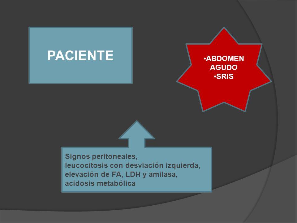 PACIENTE ABDOMEN AGUDO SRIS Signos peritoneales,