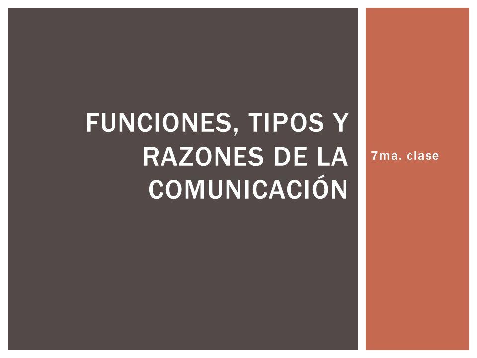 FUNCIONES, TIPOS Y RAZONES DE LA COMUNICACIÓN