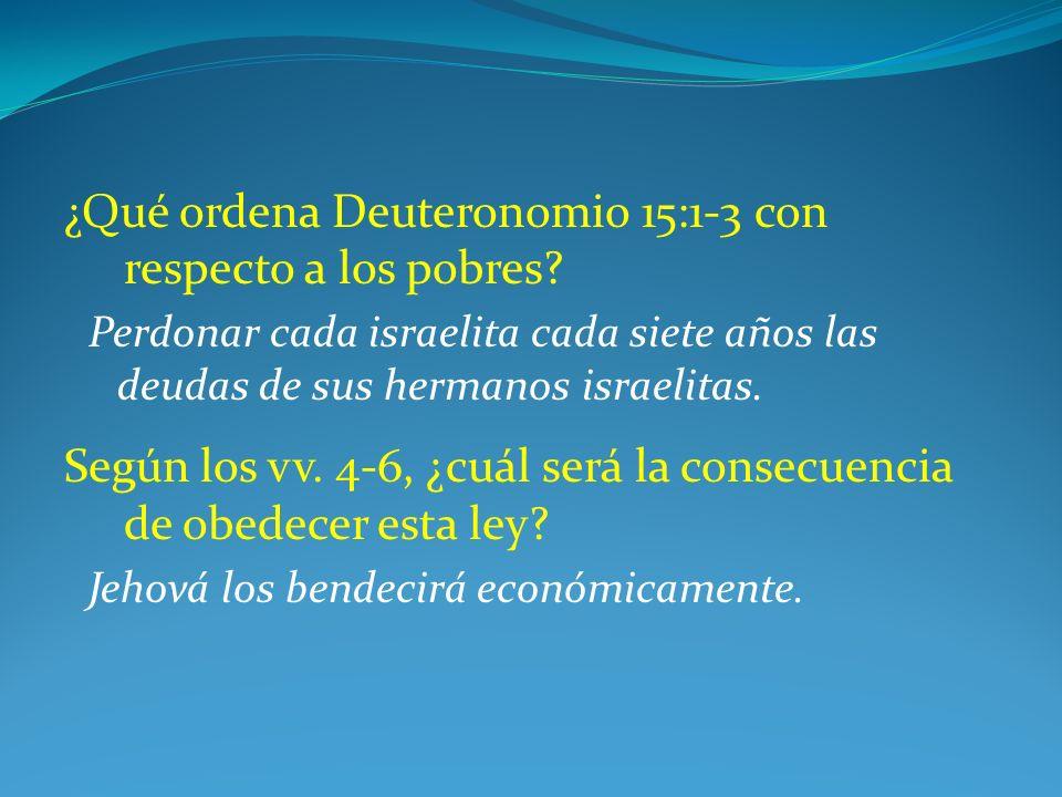 ¿Qué ordena Deuteronomio 15:1-3 con respecto a los pobres