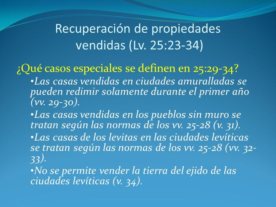 Recuperación de propiedades vendidas (Lv. 25:23-34)