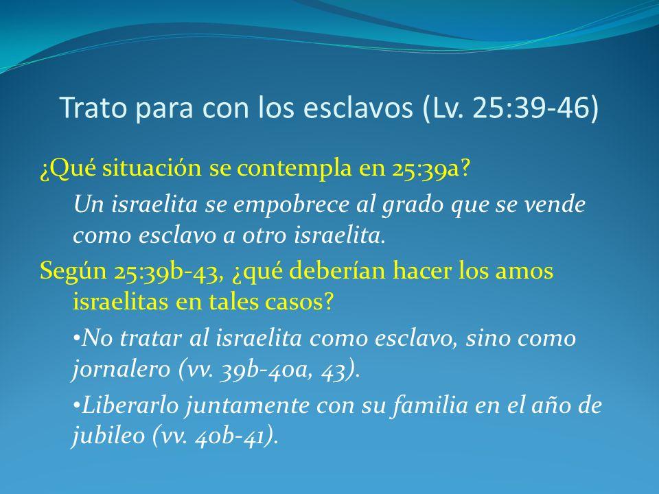 Trato para con los esclavos (Lv. 25:39-46)
