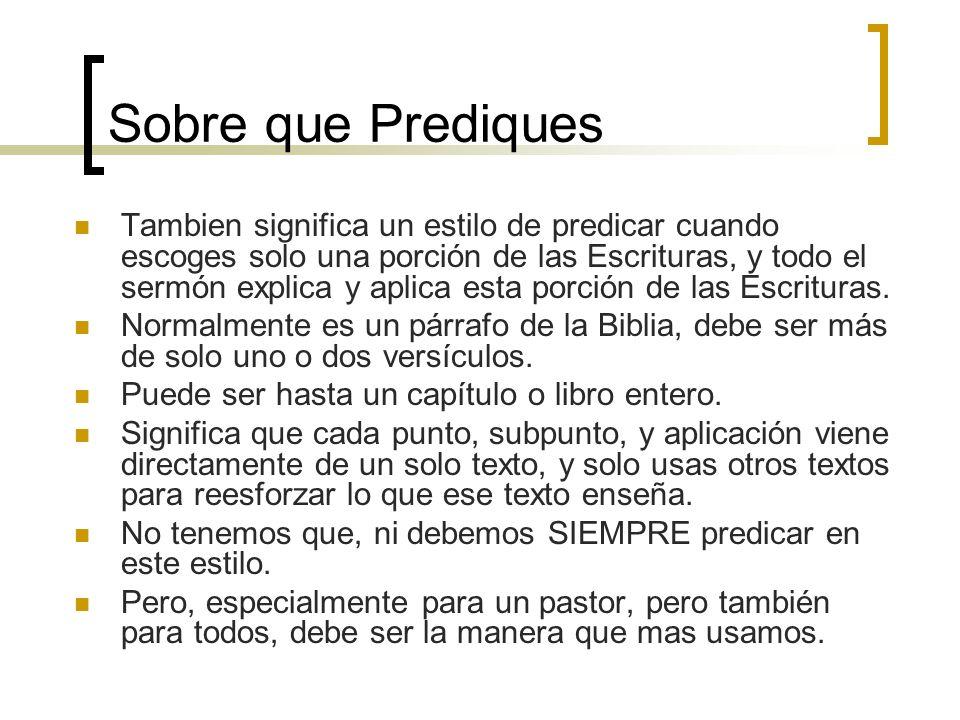 Sobre que Prediques