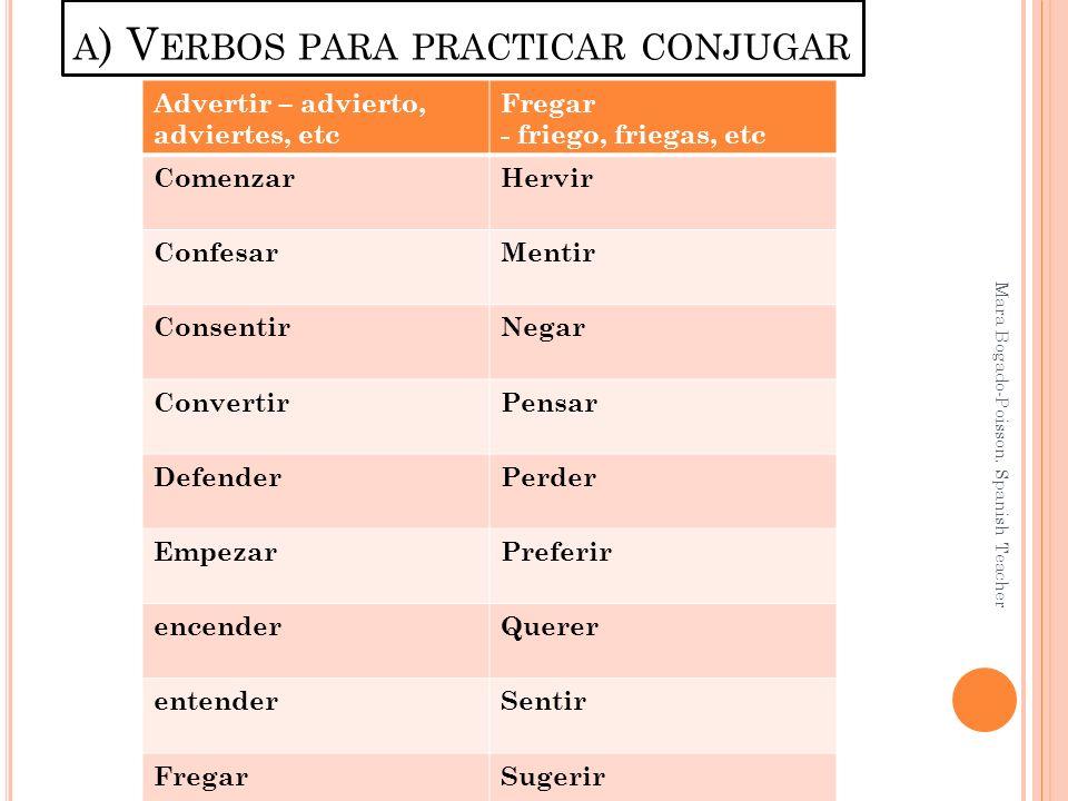 a) Verbos para practicar conjugar
