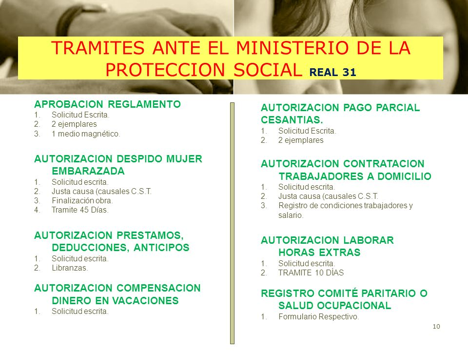 TRAMITES ANTE EL MINISTERIO DE LA PROTECCION SOCIAL REAL 31