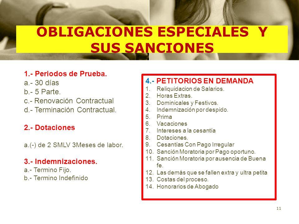 OBLIGACIONES ESPECIALES Y SUS SANCIONES