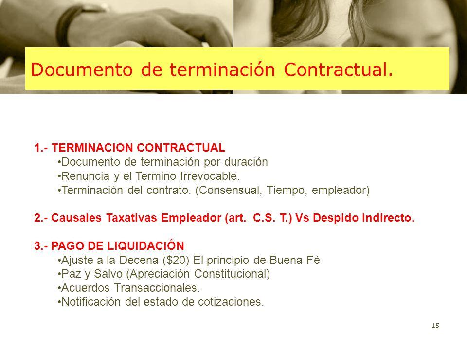 Documento de terminación Contractual.