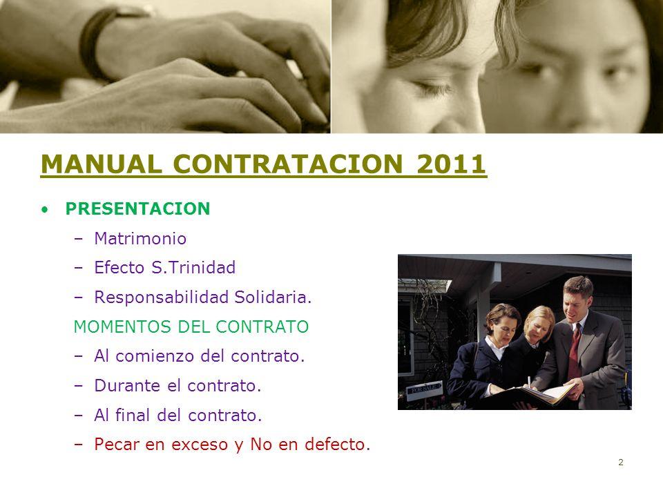 MANUAL CONTRATACION 2011 PRESENTACION Matrimonio Efecto S.Trinidad
