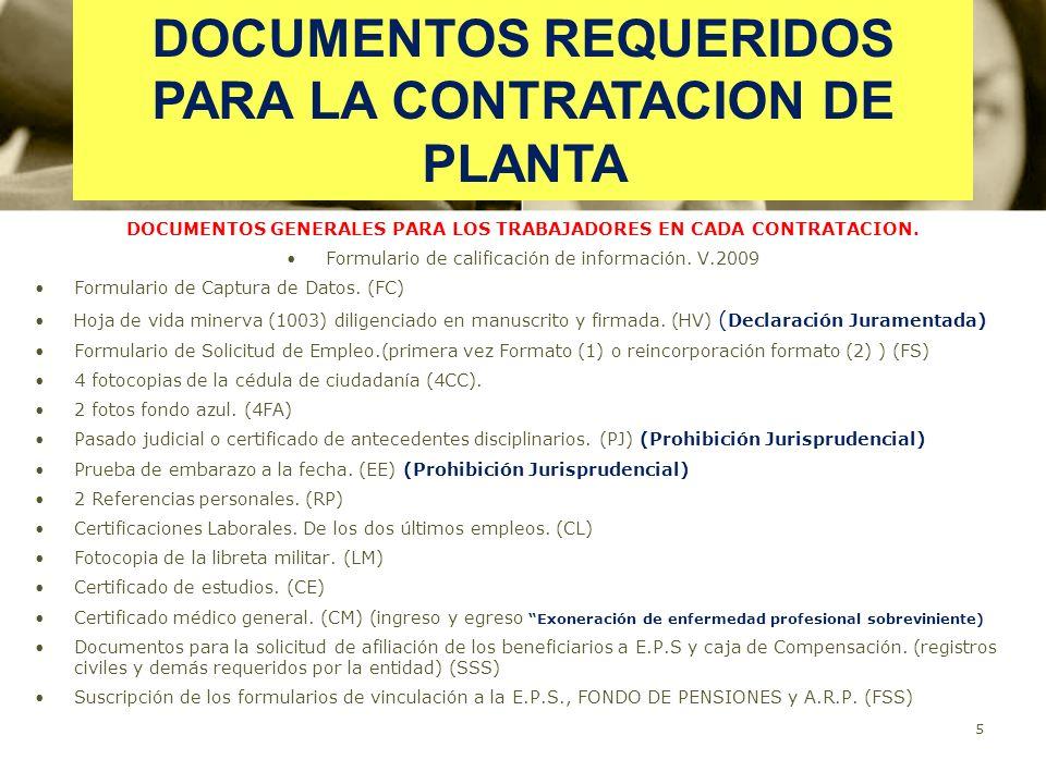 DOCUMENTOS REQUERIDOS PARA LA CONTRATACION DE PLANTA