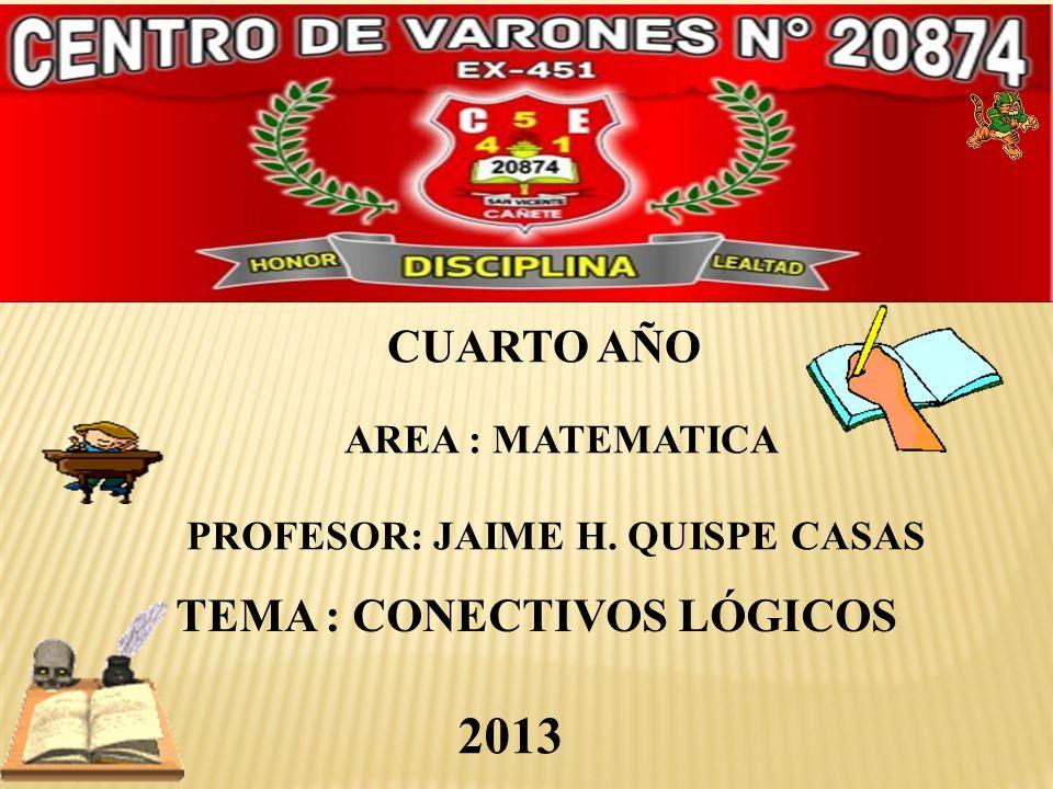 PROFESOR: JAIME H. QUISPE CASAS TEMA : CONECTIVOS LÓGICOS