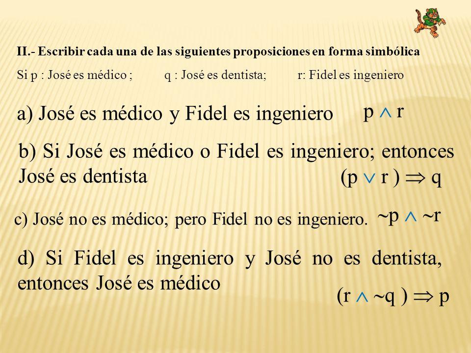 a) José es médico y Fidel es ingeniero p  r