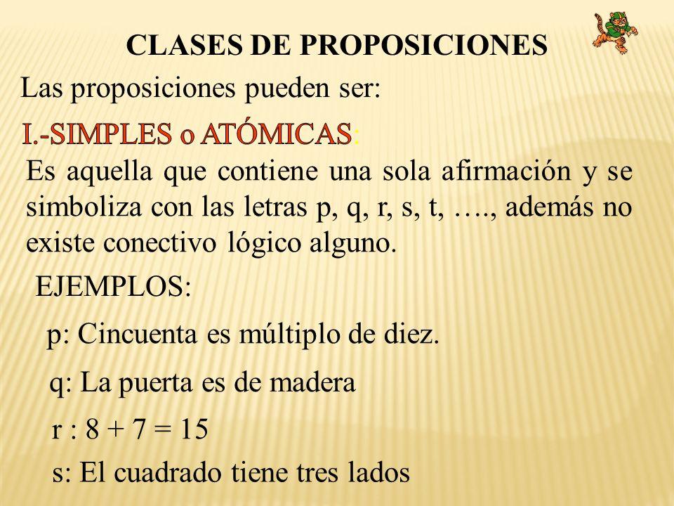 CLASES DE PROPOSICIONES